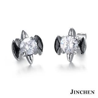 【JINCHEN】316L鈦鋼耳環單個價TEC-278白鑽(蝙蝠水鑽耳環/中性配件/鋼針抗過敏)