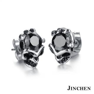 【JINCHEN】316L鈦鋼耳環單個價TEC-277黑鑽(骷顱惡魔水鑽耳環/中性配件/鋼針抗過敏)