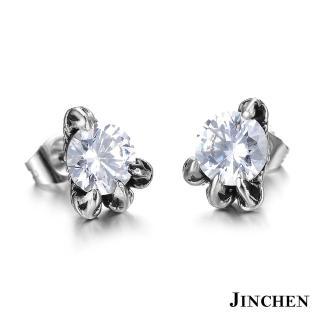 【JINCHEN】316L鈦鋼耳環單個價TEC-275白鑽(龍爪水鑽耳環/中性配件/鋼針抗過敏)