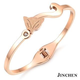 【JINCHEN】316L鈦鋼手環單個價TCC-725A玫金(狐狸手環/正韓商品/淑女百搭)