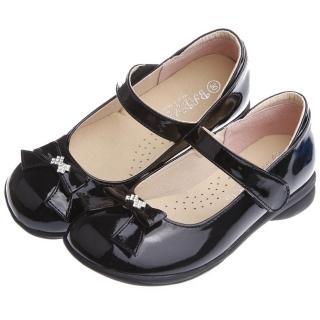 【布布童鞋】典雅淑女風格蝴蝶結鑽飾亮黑色公主鞋(KFP915D)