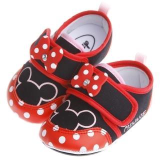 【布布童鞋】Disney迪士尼米妮亮紅棉柔防滑寶寶學步鞋(MAQ250A)
