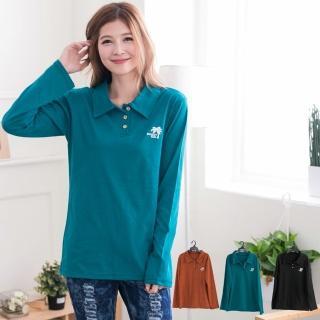 【衣心衣意中大尺碼】造型繡花polo衫(黑-桔-綠A2026)