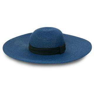 【Limehi】時尚黑色織帶造型草帽 沙灘遮陽帽 可折疊帽(深藍 Lime-18)
