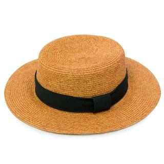 【Limehi】時尚造型黑緞帶草帽 沙灘遮陽帽(棕黑 Lime-8)