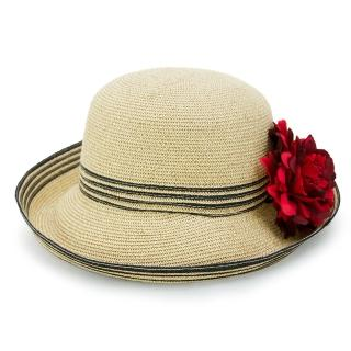 【Limehi】時尚造型草帽 沙灘遮陽帽 可折疊帽 翻邊圓帽(深卡其 Lime-23-D)
