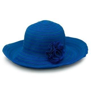 【Limehi】時尚花朵造型草帽 沙灘遮陽帽 可折疊帽 翻邊緣帽(藍 Lime-17)