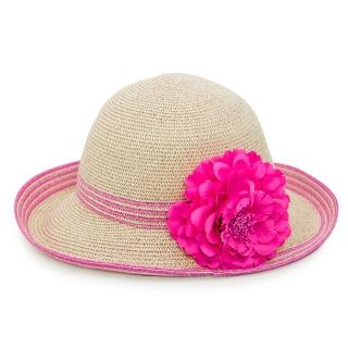 【Limehi】時尚花朵造型草帽 沙灘遮陽帽 可折疊帽 翻邊圓帽(深米粉 Lime-24-D)