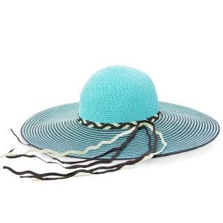 【Limehi】時尚手工編織帶造型草帽 沙灘遮陽帽 可折疊帽(藍灰 Lime-21)