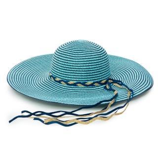 【Limehi】時尚手工編織帶造型草帽 沙灘遮陽帽 可折疊帽(淺藍棕 Lime-20)