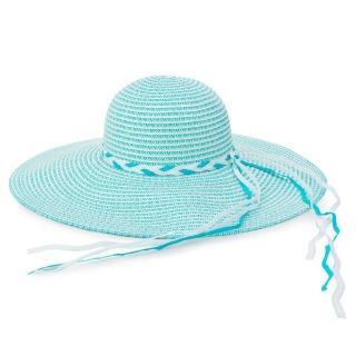 【Limehi】時尚手工編織帶造型草帽 沙灘遮陽帽 可折疊帽(水藍 Lime-19)