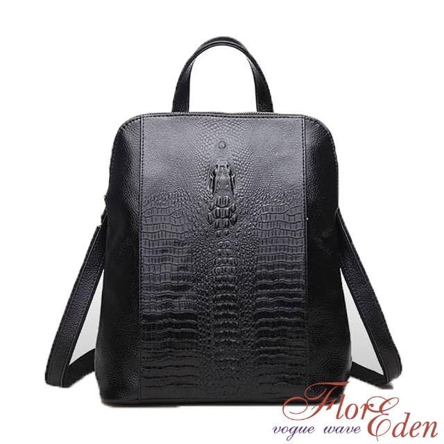 【DF Flor Eden】韓版人氣鱷魚紋真皮3WAY後背包