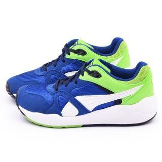【PUMA】大童 輕量透氣慢跑運動鞋(356769-08-藍綠)