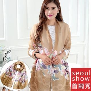 【Seoul Show】雙生百合花巴黎紗圍巾2色(土黃)   Seoul Show首爾秀