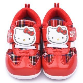 【三麗鷗】Hello Kitty 中小童 經典格紋運動鞋(715131-紅)