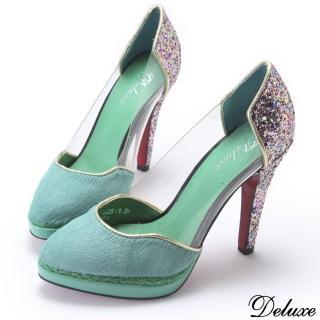 【Deluxe】古典綠優雅氣質高跟鞋(高跟鞋)