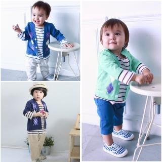 【baby童衣】假兩件紳士菱格條紋連身衣 50454(共3色)