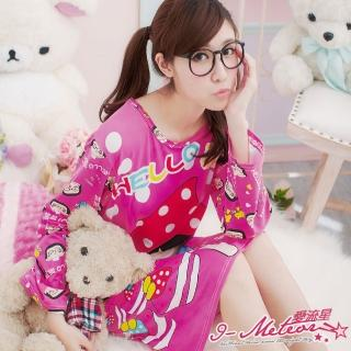 【I-meteor日系】PA1254全尺碼-菜菜卡通印圖連身洋裝睡衣(甜蜜桃)