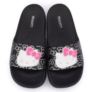 【三麗鷗】Hello Kitty 女款 超輕量拖鞋(915056-黑)