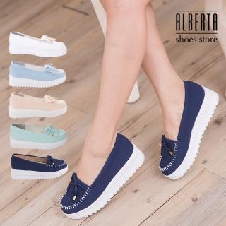 【Alberta】馬卡龍色系 莫卡辛流蘇蝴蝶結 厚底增高5CM鬆糕鞋 小白鞋(藍色)