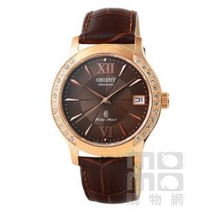 【ORIENT】東方錶晶鑽藍寶石機械皮帶女錶-古銅金(FER2E001T)