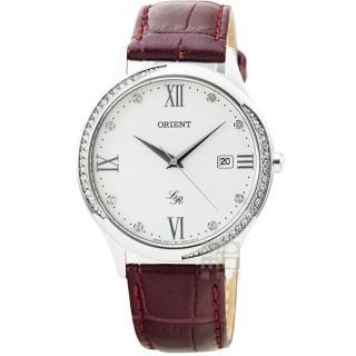 【ORIENT】東方錶LADY石英藍寶石皮帶錶-銀(FUNF8006W)