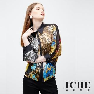 【ICHE 衣哲】印花拼綴襯衫造型上衣(Trend)