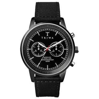 【TRIWA】Nevil系列 紳士牛仔兩眼計時腕錶-黑皮錶帶(TWNEST111-SC010112)