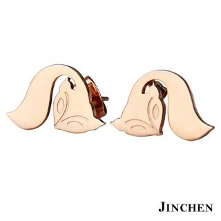 【JINCHEN】316L鈦鋼耳環一對價TEC-626玫金(狐狸耳環/正韓商品/鋼針抗過敏)
