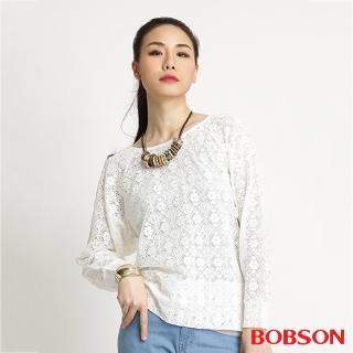 【BOBSON】女款蕾絲網布長袖上衣(米白32083-81)