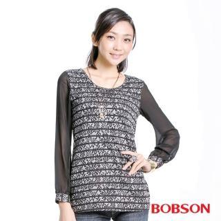 【BOBSON】女款雪紡花紋長袖上衣(黑33083-88)