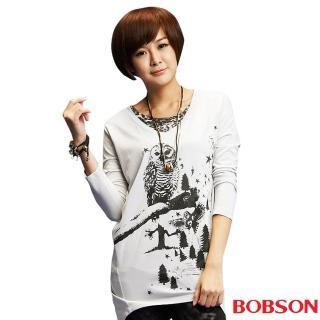 【BOBSON】女款貓頭鷹印圖寬版長袖上衣(灰33084-82)