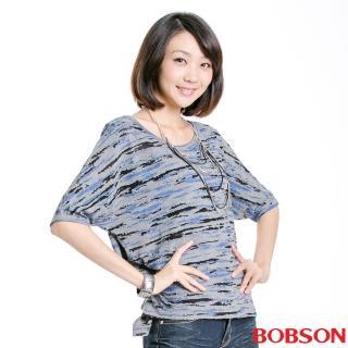 【BOBSON】女款寬版燒花布五分袖上衣(灰33088-87)