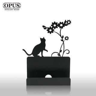 【OPUS東齊金工】歐式鐵藝名片座/高級名片架/會展用品/金屬商務名片盒(CA-ca02 貓咪_經典黑)