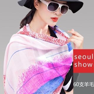 【Seoul Show】普普條格純羊毛圍巾披肩2色(粉彩色)   Seoul Show首爾秀