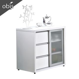 【obis】羽田2.7尺白色鋁框推門餐櫃下座