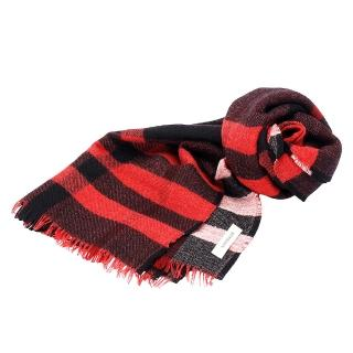 【BURBERRY】經典格紋雙面兩色純羊毛大披肩/圍巾(170CM-紅色3968118-MILI-RED)