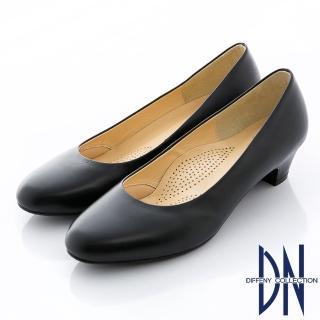 【DN】優雅通勤 MIT全真皮經典素面粗跟鞋(黑)