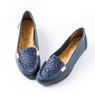 【ALAIN DELON】真皮舒適百搭女娃娃鞋W7535(2色  桔色   藍色)
