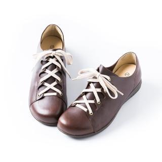 【ALAIN DELON】真皮舒適百搭女休閒鞋W7558(2色 桃紅色   咖啡色)