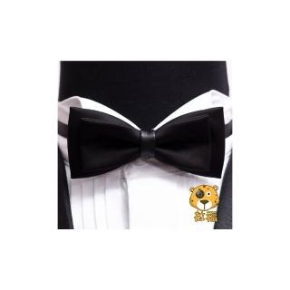 【拉福】獨家設計大小折質感領結新郎結婚領結糾糾(黑色)