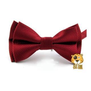 【拉福】西裝布料斜紋領結新郎結婚領結糾糾(中紅色)