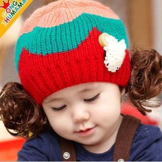 【韓版】秋冬卡哇伊假髮兒童造型帽