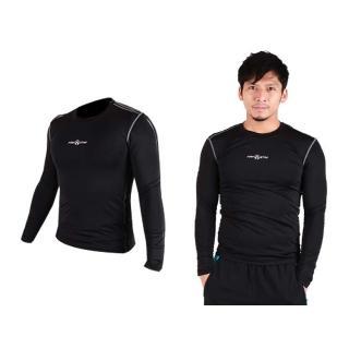 【FIRESTAR】男緊身長袖T恤-慢跑 路跑 運動T恤(黑)