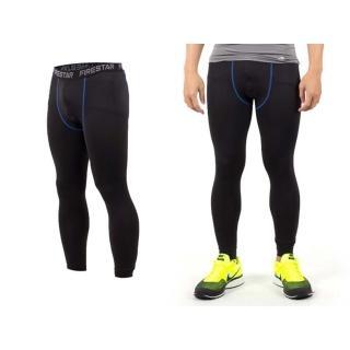 【FIRESTAR】男機能緊身長褲-慢跑 路跑 與NIKE PRO同版型(黑寶藍)