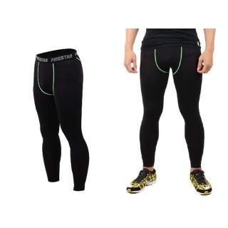【FIRESTAR】男機能緊身長褲-慢跑 路跑 與NIKE PRO同版型(黑綠)