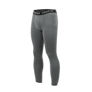 【FIRESTAR】男機能緊身長褲-慢跑 路跑 與NIKE PRO同版型(墨灰黑)