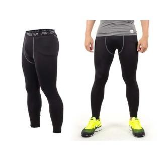 【FIRESTAR】男機能緊身長褲-慢跑 路跑 與NIKE PRO同版型(黑灰)