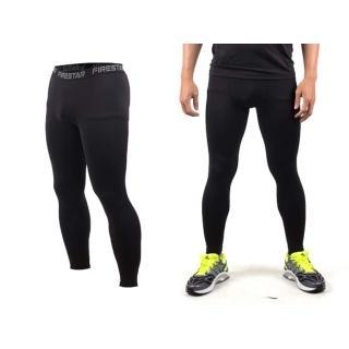 【FIRESTAR】男機能緊身長褲-慢跑 路跑 與NIKE PRO同版型(黑)