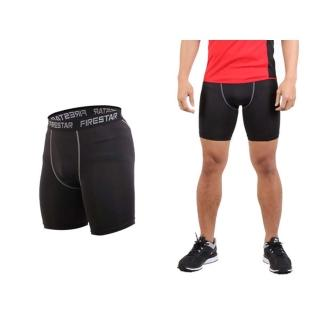 【FIRESTAR】男機能緊身短褲-慢跑 路跑 運動短褲(黑灰)
